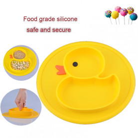 2018 New Infants Cute Cartoon Duck Silicone Feeding Food Plate Tray Dishes Food Holder for Baby Toddler Kid Children Bowl spoon
